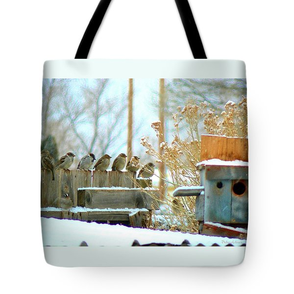 Tote Bag featuring the photograph 7 Winter Sparrows by Deborah Moen