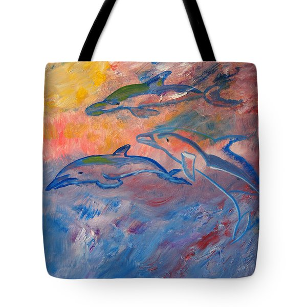 Soaring Dolphins Tote Bag by Meryl Goudey