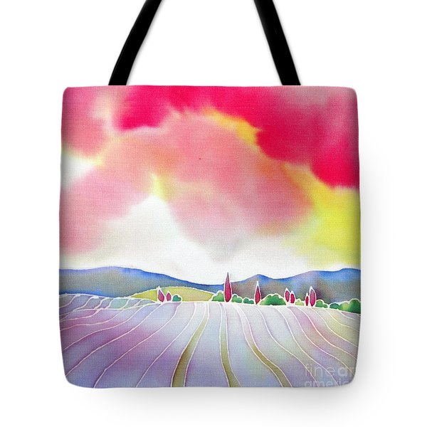 Sunset On The Lavender Farm Tote Bag