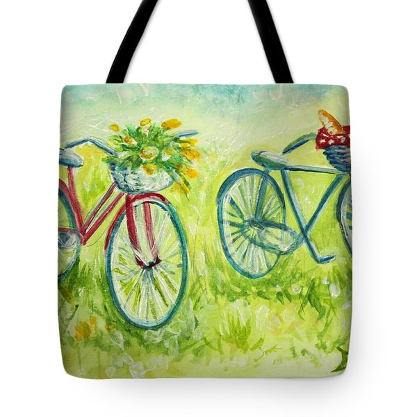Sweet Bike Ride Picnic Tote Bag by Elizabeth Robinette Tyndall