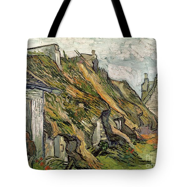 Thatched Cottages In Chaponval Tote Bag by Vincent van Gogh