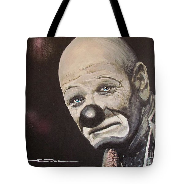 Tote Bag featuring the painting  The Clown by Eric Dee