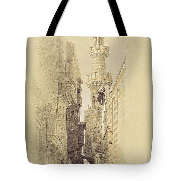 The Minaret Of The Mosque Of El Rhamree Tote Bag by David Roberts