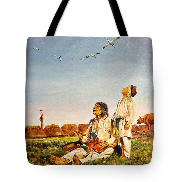 Tote Bag featuring the painting End Of The Summer- The Storks by Henryk Gorecki
