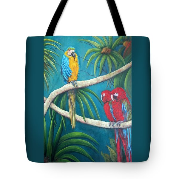 Three Is A Crowd,macaws Tote Bag