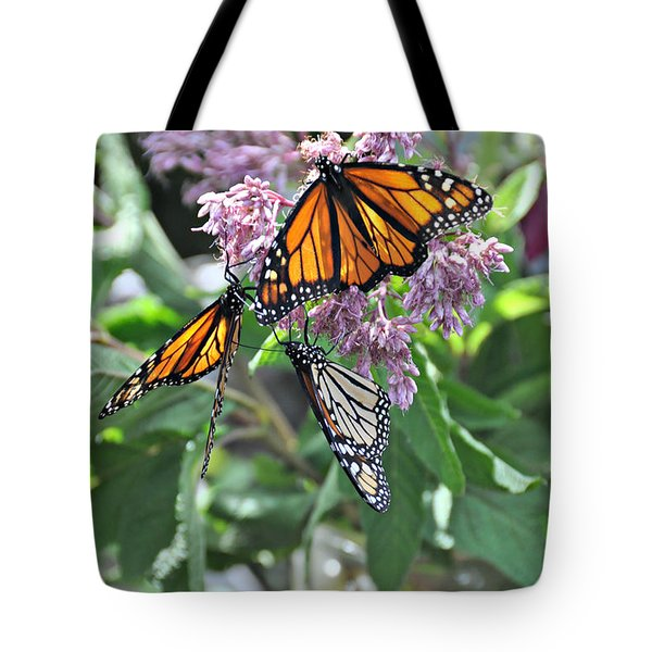 Three Monarchs And Mason Jar  Tote Bag