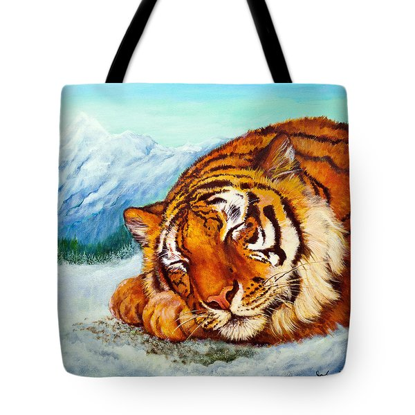 Tote Bag featuring the painting  Tiger Sleeping In Snow by Bob and Nadine Johnston