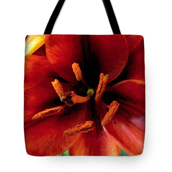 Vertical Orange Lily Macro  Tote Bag by Danielle  Parent