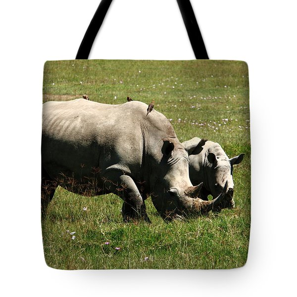 White Rhino Mother And Calf Tote Bag by Aidan Moran