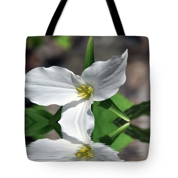 Tote Bag featuring the photograph Spring Trillium by Elaine Manley