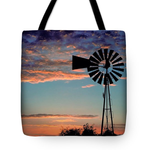 Windmill At Dawn Tote Bag