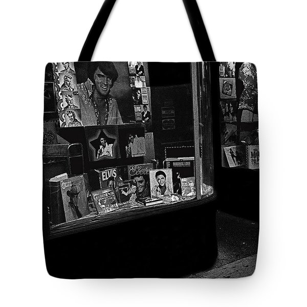 Tote Bag featuring the photograph  Window Display Night Of Elvis Presley's Death Recordland Portland Maine  1977 by David Lee Guss