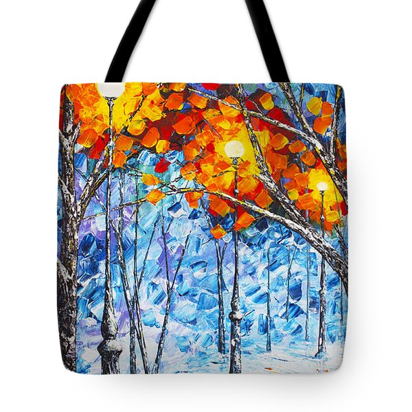Silence Winter Night Light Reflections Original Palette Knife Painting Tote Bag