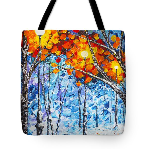 Tote Bag featuring the painting  Silence Winter Night Light Reflections Original Palette Knife Painting by Georgeta Blanaru