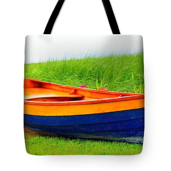 Tote Bag featuring the photograph  Wood Row Boat by Judy Palkimas