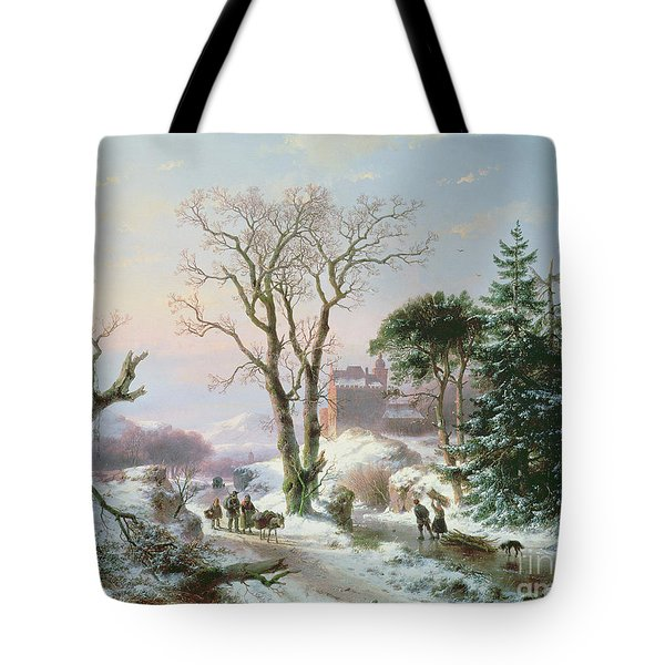 Wooded Winter River Landscape Tote Bag by  Andreas Schelfhout