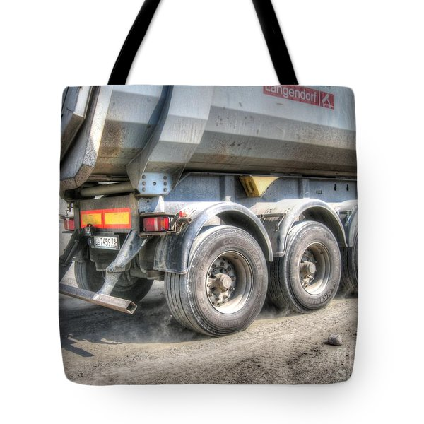Tote Bag featuring the pyrography  Workers At The Construction Site by Yury Bashkin