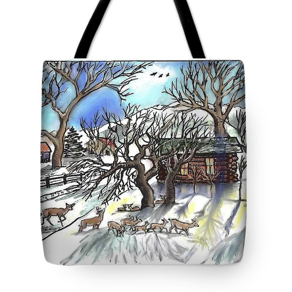 Wyoming Winter Street Scene Tote Bag by Dawn Senior-Trask