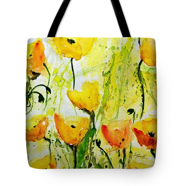 Yellow Poppy 2 - Abstract Floral Painting Tote Bag