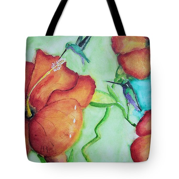 000002 Water Color Humming Birds Tote Bag
