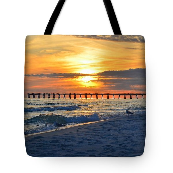 0108 Sunset Colors Over Navarre Pier On Navarre Beach With Gulls Tote Bag by Jeff at JSJ Photography