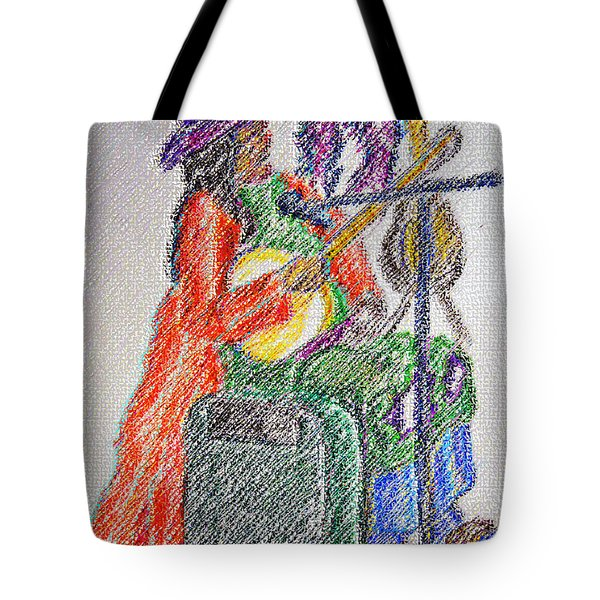 03162015 Digital Pastel Street Music Person Tote Bag