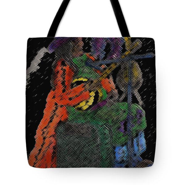 04142015 Digital Color Pencil Street Musican New Orleans Tote Bag