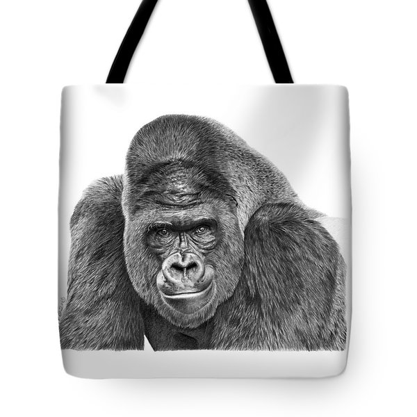 Tote Bag featuring the drawing 042 - Gomer The Silverback Gorilla by Abbey Noelle