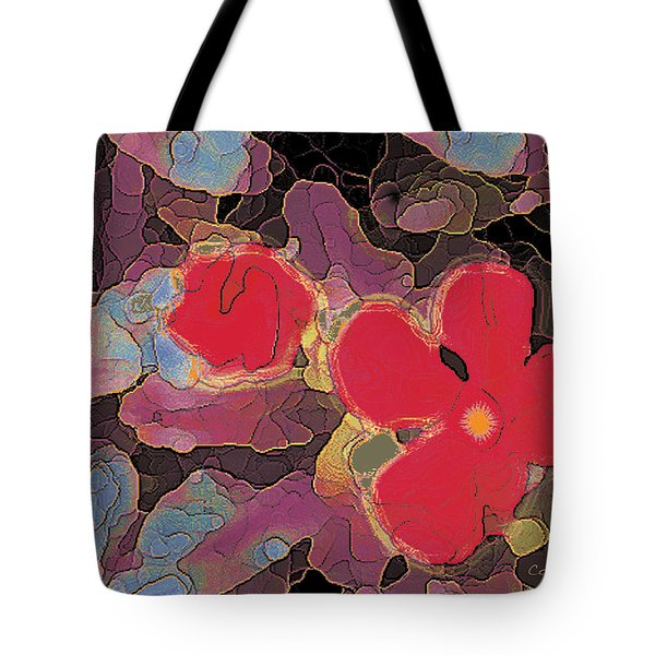 044 Cosmic Impatiens 6 With Blue Tote Bag