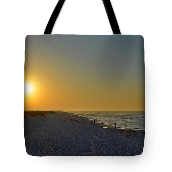 0501 Navarre Beach Sunrise Over Fishermen Tote Bag by Jeff at JSJ Photography