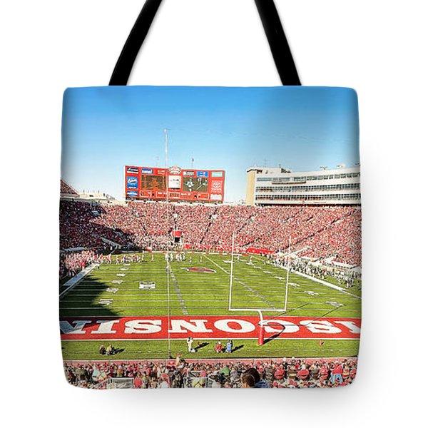 0812 Camp Randall Stadium Panorama Tote Bag