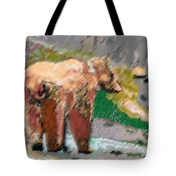 081914 Pastel Painting Grizzly Bear Tote Bag