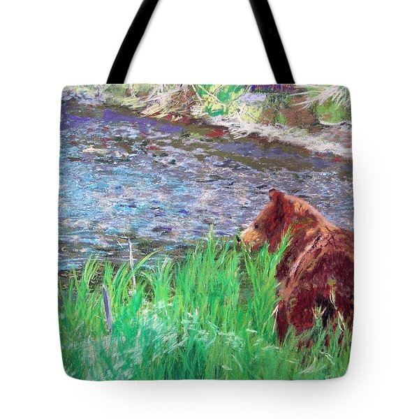 082714 Black Bear Pastel Tote Bag