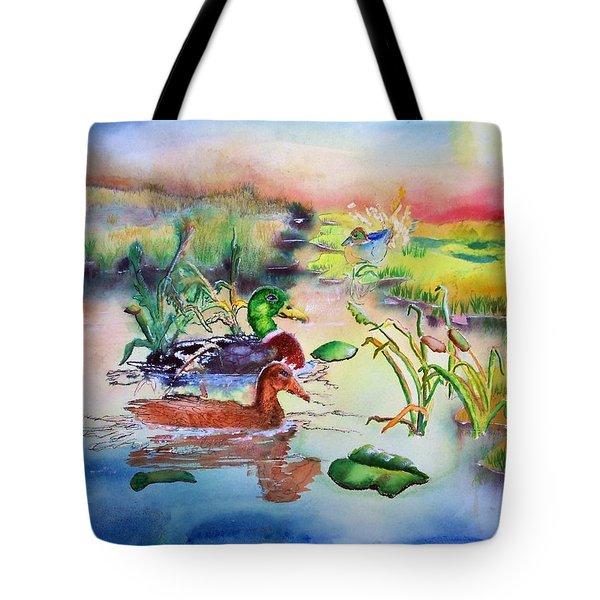 082814 Mallards At Dawn Tote Bag