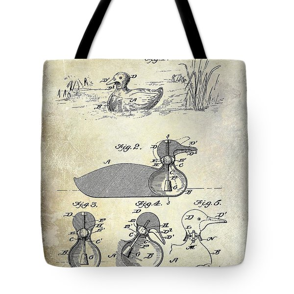 1902 Duck Decoy Patent Drawing Tote Bag
