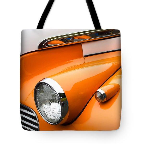 1940 Orange And White Chevrolet Sedan Tote Bag