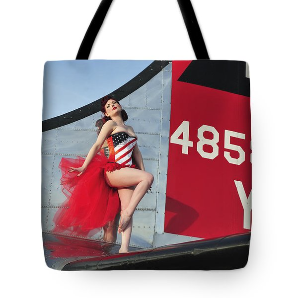 1940s Style Pin-up Girl Standing Tote Bag by Christian Kieffer