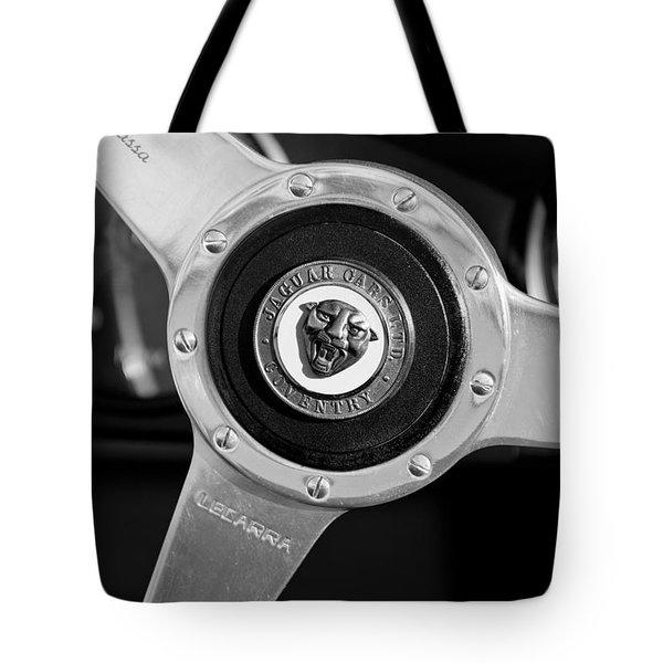 1951 Jaguar Steering Wheel Emblem Tote Bag by Jill Reger