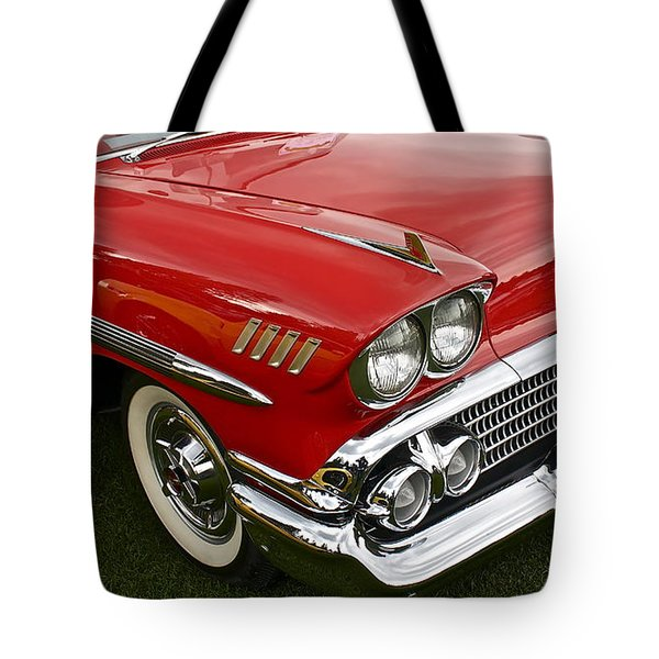 1958 Chevy Impala Tote Bag by Linda Bianic
