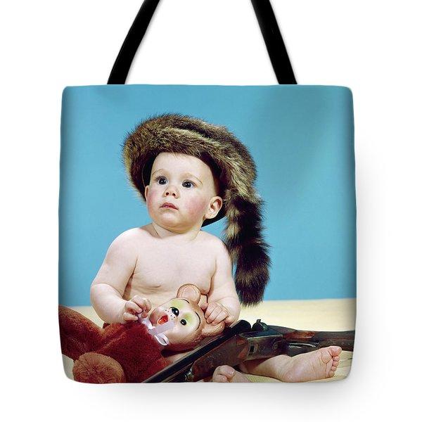 1960s Baby Boy Wearing Coonskin Cap Tote Bag