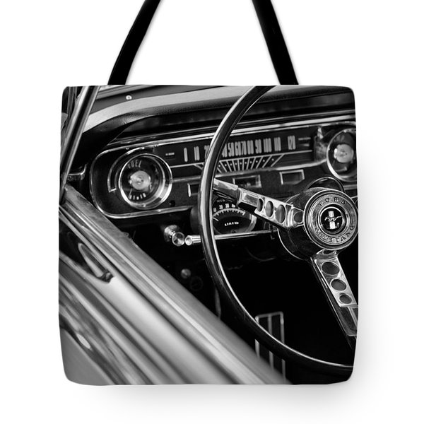 Tote Bag featuring the photograph 1965 Shelby Prototype Ford Mustang Steering Wheel by Jill Reger