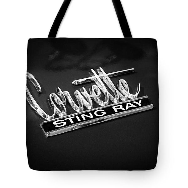 1966 Chevrolet Corvette Coupe Emblem  Bw Tote Bag by Rich Franco