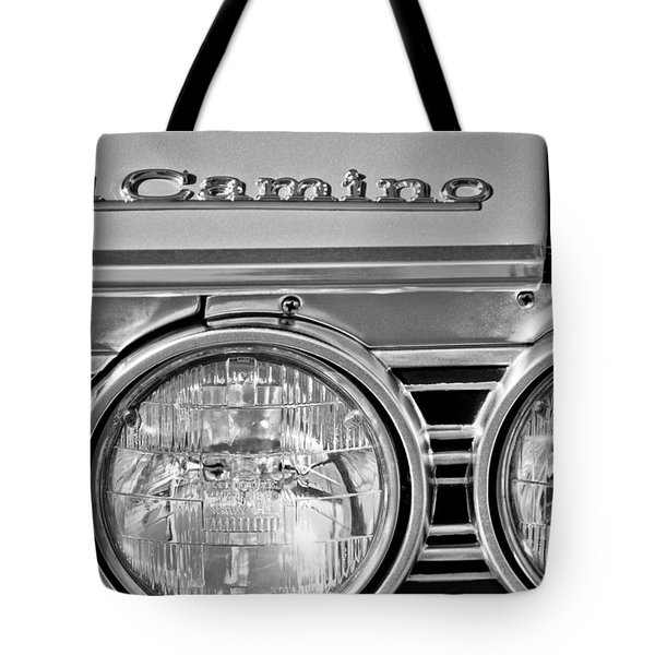 1967 Chevrolet El Camino Pickup Truck Headlight Emblem Tote Bag by Jill Reger