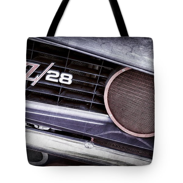 1969 Chevrolet Camaro Z28 Grille Emblem Tote Bag by Jill Reger