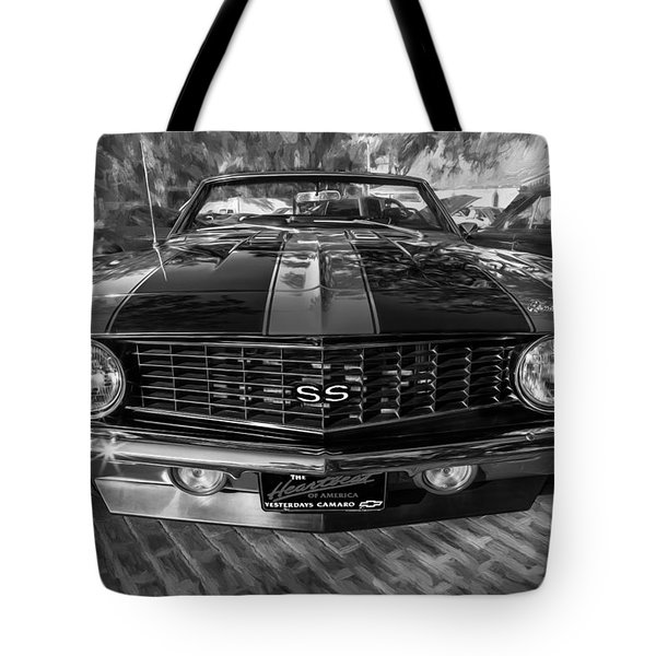 1969 Chevy Camaro Ss Painted Bw Tote Bag