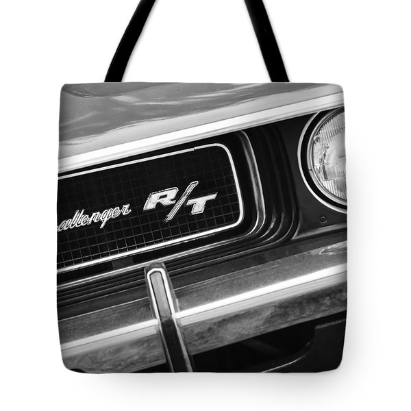 Tote Bag featuring the photograph 1970 Dodge Challenger Rt Convertible Grille Emblem by Jill Reger