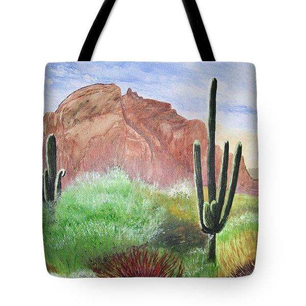 2 Saguaros Tote Bag