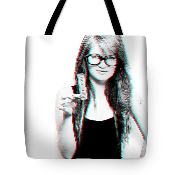 3d Woman Holding Movie Tickets Tote Bag