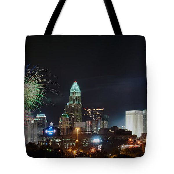 4th Of July Firework Over Charlotte Skyline Tote Bag
