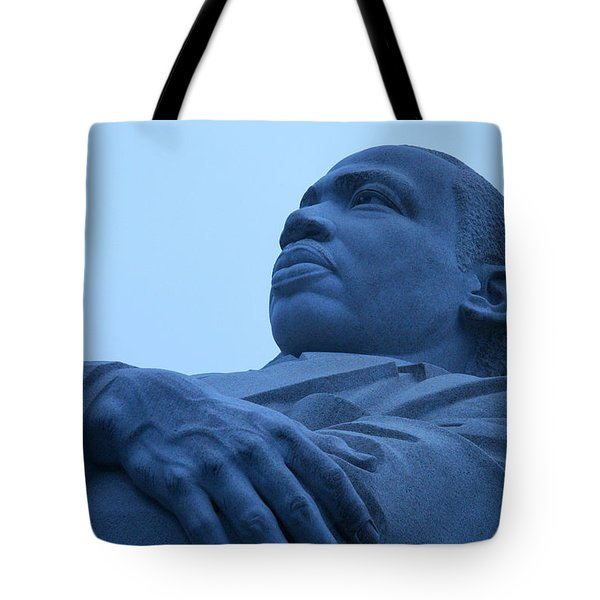Tote Bag featuring the photograph A Blue Martin Luther King - 1 by Cora Wandel